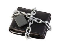 链卷起的钱包 免版税库存图片