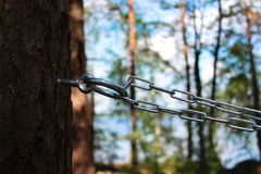 链子和圆环对杉木修理人和鞭打的 施虐受虐狂,报告文学摄影的概念 免版税库存图片