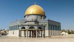 链子和岩石清真寺的圆顶在耶路撒冷 库存图片