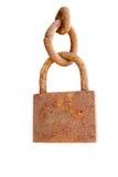链子在挂锁生锈的白色的查出的金属 免版税库存图片