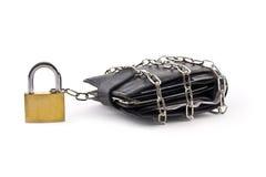 链子挂锁被巩固的钱包 库存照片