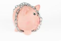 链子的存钱罐 免版税库存图片