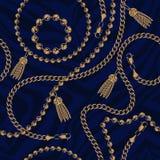链子的无缝的样式在黑暗的背景的 皇族释放例证