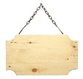 从链子的木标志 免版税库存照片