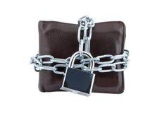 链子被关闭的挂锁钱包 库存图片