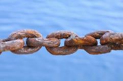 链子从许多损坏了生锈,一个老生锈的海军链子 库存照片