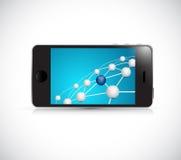 链接在电话的网络连接 免版税库存图片