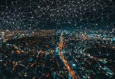 链接有东京,日本鸟瞰图  免版税库存照片
