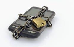 链移动挂锁电话 库存照片