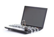 链膝上型计算机开放安全丝毫 免版税库存图片