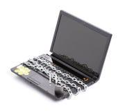 链膝上型计算机开放挂锁安全丝毫 免版税库存图片
