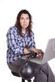 链计算机哀伤的妇女 库存照片