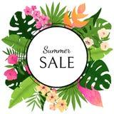销售与热带叶子和花的卡片设计 库存照片