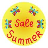 销售与蝴蝶的夏天圈子 库存例证