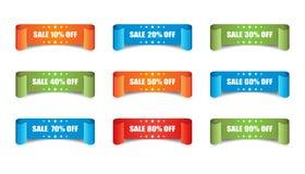 销售丝带传染媒介象 折扣贴纸在白色bac的标号组 免版税图库摄影