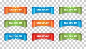 销售丝带传染媒介象 折扣贴纸在隔绝的标号组 免版税库存图片