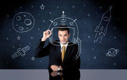 销售人图画盔甲和太空火箭 免版税库存照片