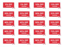 销售优惠券、折扣标记和标号组 向量例证