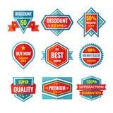 销售和折扣在平的样式的传染媒介徽章设计 销售证章汇集 向量例证