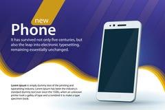 销售和折扣横幅设计 在蓝色背景的白色现代智能手机 与梯度和弯曲的颜色的现代背景 免版税库存照片