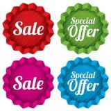 销售和特价优待被设置的价牌。传染媒介。 免版税库存图片