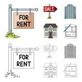 销售和租,摩天大楼,一个两层村庄的标志 在动画片,概述样式传染媒介的地产商集合汇集象 库存图片