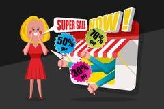 销售和购物概念,夫人祈祷红色礼服呼喊对cust 免版税库存图片