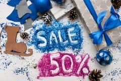 销售圣诞节和新年假日 库存照片