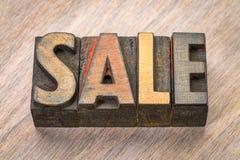 销售在木类型的词摘要 免版税库存图片