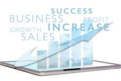 销售在片剂屏幕上的成长曲线图 库存照片