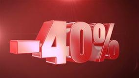 -40%销售在红色文本无缝loopable Backgroun的动画促进 库存例证