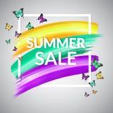 销售夏天与框架和蝴蝶的横幅设计 库存照片