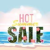 销售夏天横幅、海报与棕榈叶,密林叶子和热带花 海热带夏天背景 向量 库存例证