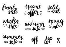销售字法集合 用在白色背景的戴西装饰的季节性sale.green标签 免版税库存图片