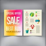 销售小册子飞行物设计传染媒介模板 库存照片