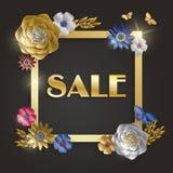 销售广告,邀请或者海报销售的横幅模板与纸艺术金子开花,叶子和蝴蝶  库存图片