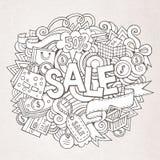 销售手字法和乱画元素 图库摄影
