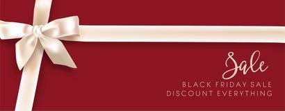 销售折扣时尚电视节目预告白色弓传染媒介广告商店海报 免版税库存图片