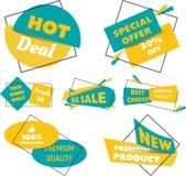 销售折扣的汇集称呼了origami横幅 平的设计 库存例证