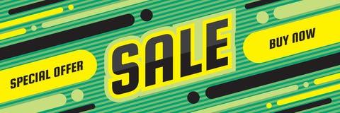 销售折扣-概念水平的横幅传染媒介例证 特价优待摘要布局 现在采购 图形设计海报 向量例证