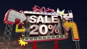 销售标志'在被带领的轻的广告牌促进的销售20%' 向量例证