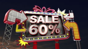 销售标志'在被带领的轻的广告牌促进的销售60%' 皇族释放例证