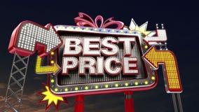 销售标志'最佳的价格'在被带领的轻的广告牌促进 皇族释放例证
