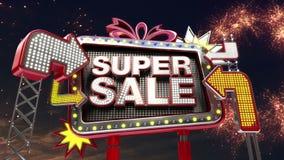 销售标志'超级销售'在被带领的轻的广告牌促进 库存例证