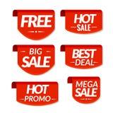 销售标记标签 特价优待,热的销售,最佳的成交,大销售,兆销售,热的电视节目预告折扣横幅 免版税库存图片
