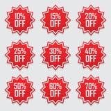 销售标记设置了传染媒介徽章模板, 10, 15%, 20, 25, 30, 40, 50, 60, 70%销售标签标志,平折扣的促进 免版税库存图片
