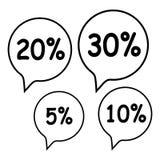 销售标记设置了10, 20,30% 免版税库存图片