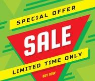 销售概念横幅传染媒介例证 特价优待摘要几何布局 仅时间有限 现在采购 库存例证