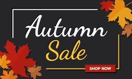 销售横幅促进在黑暗的背景的秋天季节与落的槭树叶子和文本 秋天季节和购物的网上题材 免版税库存图片