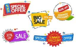 销售横幅标记 套色的贴纸和横幅 几何形状 大套美丽的折扣和促进横幅 Adver 免版税库存照片